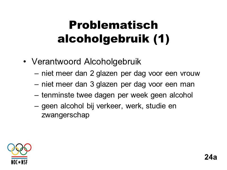 Problematisch alcoholgebruik (1) •Verantwoord Alcoholgebruik –niet meer dan 2 glazen per dag voor een vrouw –niet meer dan 3 glazen per dag voor een m