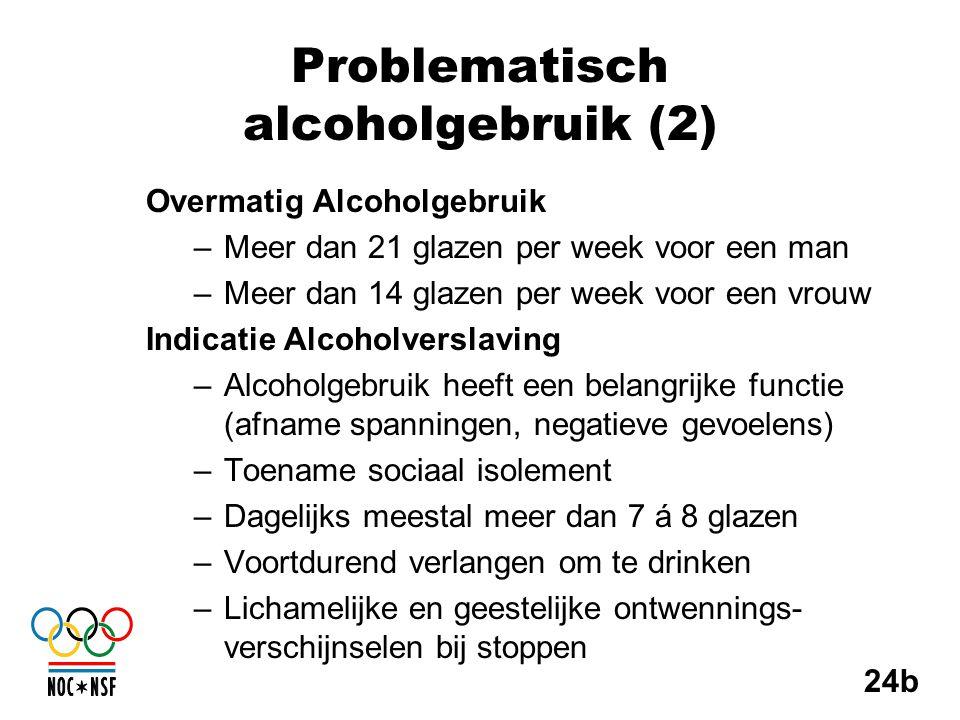 Problematisch alcoholgebruik (2) Overmatig Alcoholgebruik –Meer dan 21 glazen per week voor een man –Meer dan 14 glazen per week voor een vrouw Indica