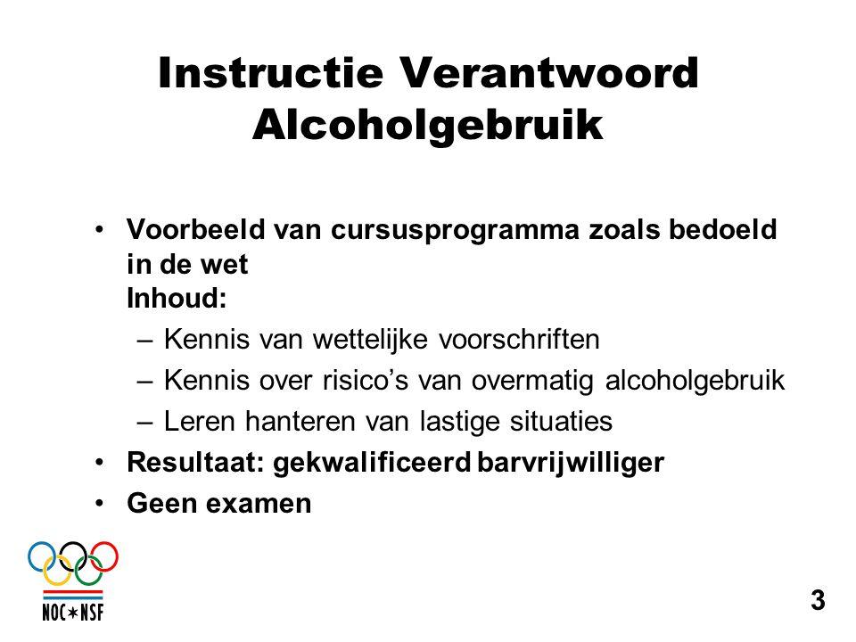 Instructie Verantwoord Alcoholgebruik •Voorbeeld van cursusprogramma zoals bedoeld in de wet Inhoud: –Kennis van wettelijke voorschriften –Kennis over