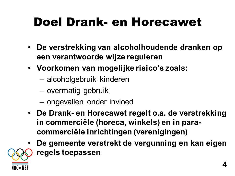 Doel Drank- en Horecawet •De verstrekking van alcoholhoudende dranken op een verantwoorde wijze reguleren •Voorkomen van mogelijke risico's zoals: –al