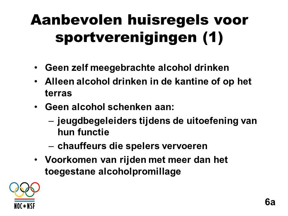 Aanbevolen huisregels voor sportverenigingen (1) •Geen zelf meegebrachte alcohol drinken •Alleen alcohol drinken in de kantine of op het terras •Geen