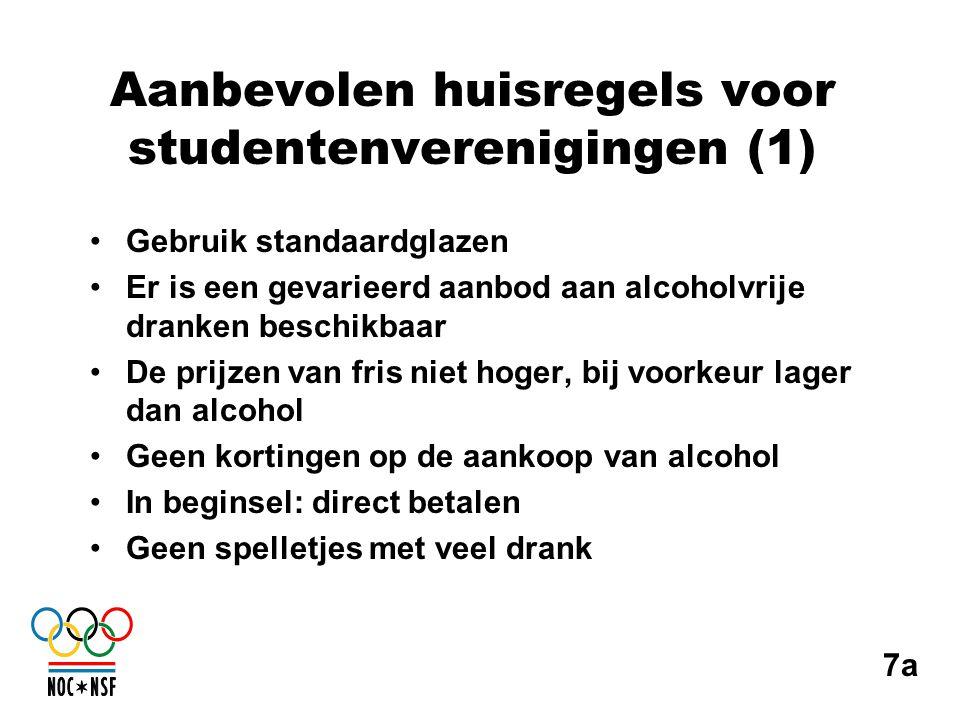 Aanbevolen huisregels voor studentenverenigingen (1) •Gebruik standaardglazen •Er is een gevarieerd aanbod aan alcoholvrije dranken beschikbaar •De pr