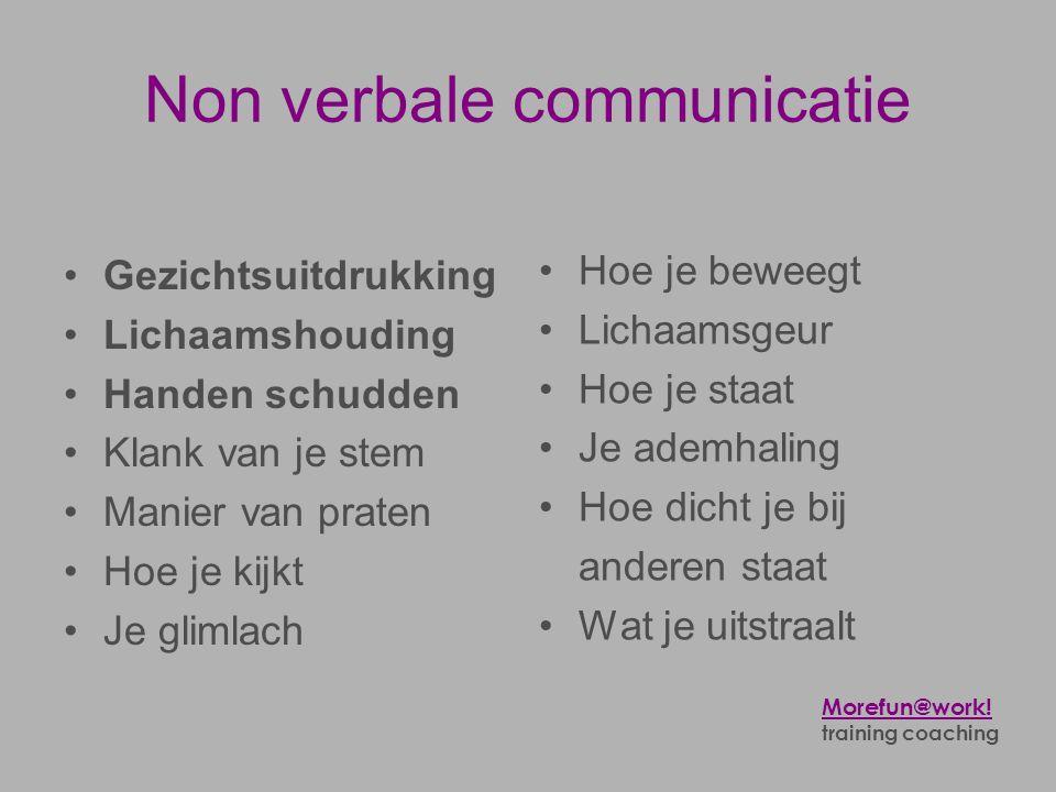 Non verbale communicatie •Gezichtsuitdrukking •Lichaamshouding •Handen schudden •Klank van je stem •Manier van praten •Hoe je kijkt •Je glimlach •Hoe
