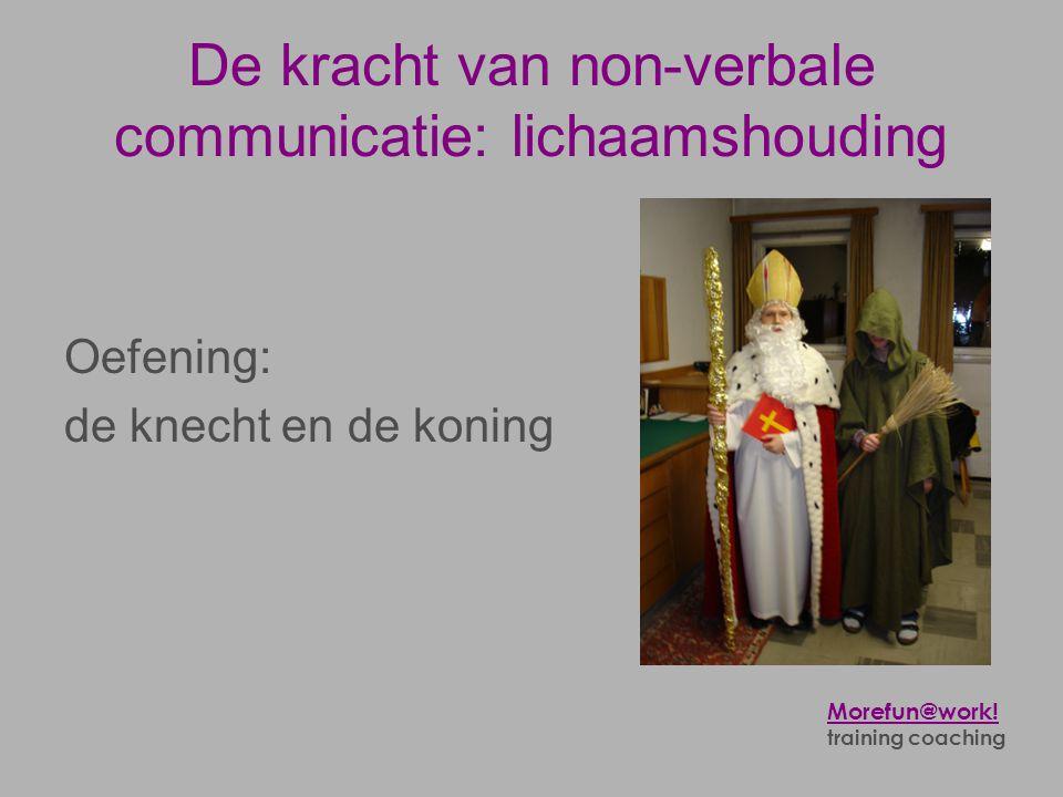 De kracht van non-verbale communicatie: lichaamshouding Oefening: de knecht en de koning Morefun@work! training coaching
