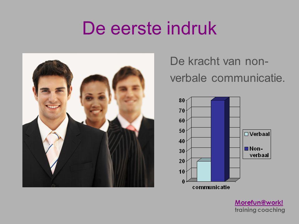 De eerste indruk Hoe kom ik over op anderen? De kracht van non- verbale communicatie. Morefun@work! training coaching