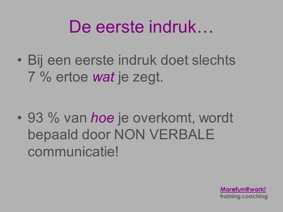 De eerste indruk… •Bij een eerste indruk doet slechts 7 % ertoe wat je zegt. •93 % van hoe je overkomt, wordt bepaald door NON VERBALE communicatie! M