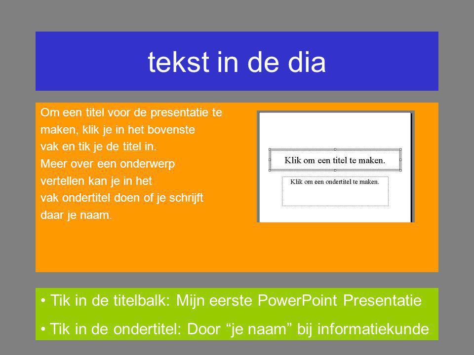 een eerste dia Na Lege presentatie openen gekozen te hebben, kan je in het scherm Autoindeling een nieuwe dia met een indeling kiezen. Rechtsonder in