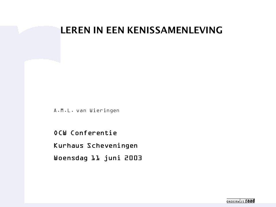 LEREN IN EEN KENISSAMENLEVING A.M.L. van Wieringen OCW Conferentie Kurhaus Scheveningen Woensdag 11 juni 2003