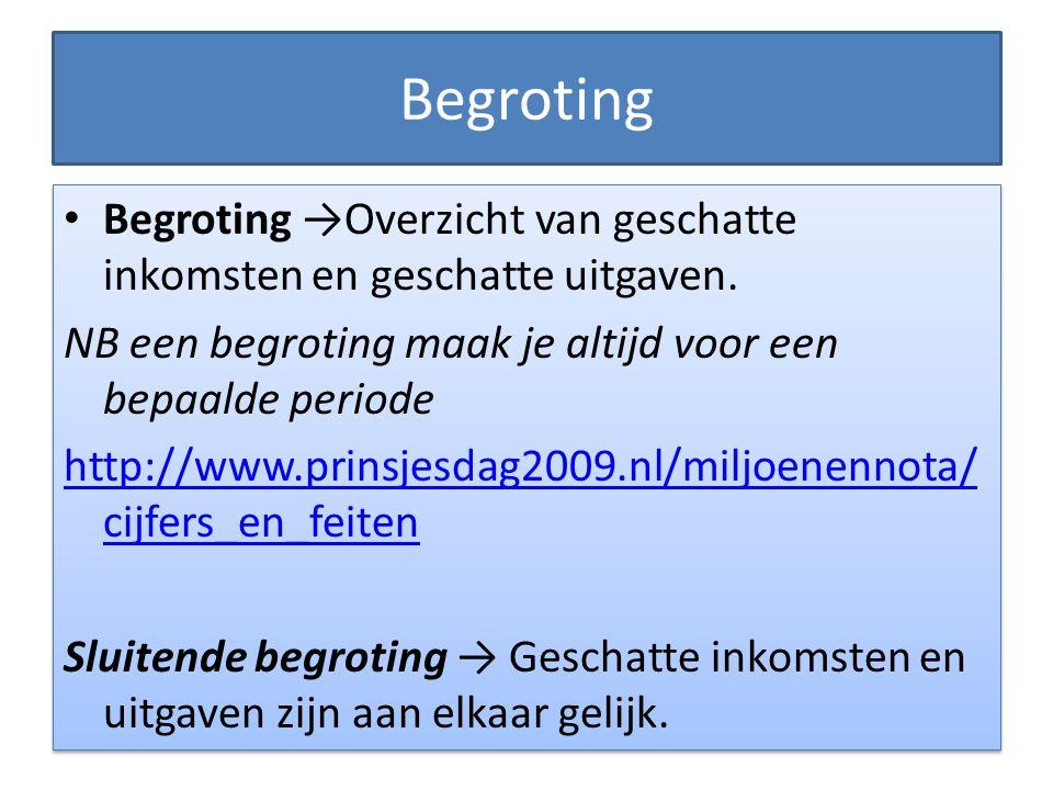 Begroting • Begroting →Overzicht van geschatte inkomsten en geschatte uitgaven.