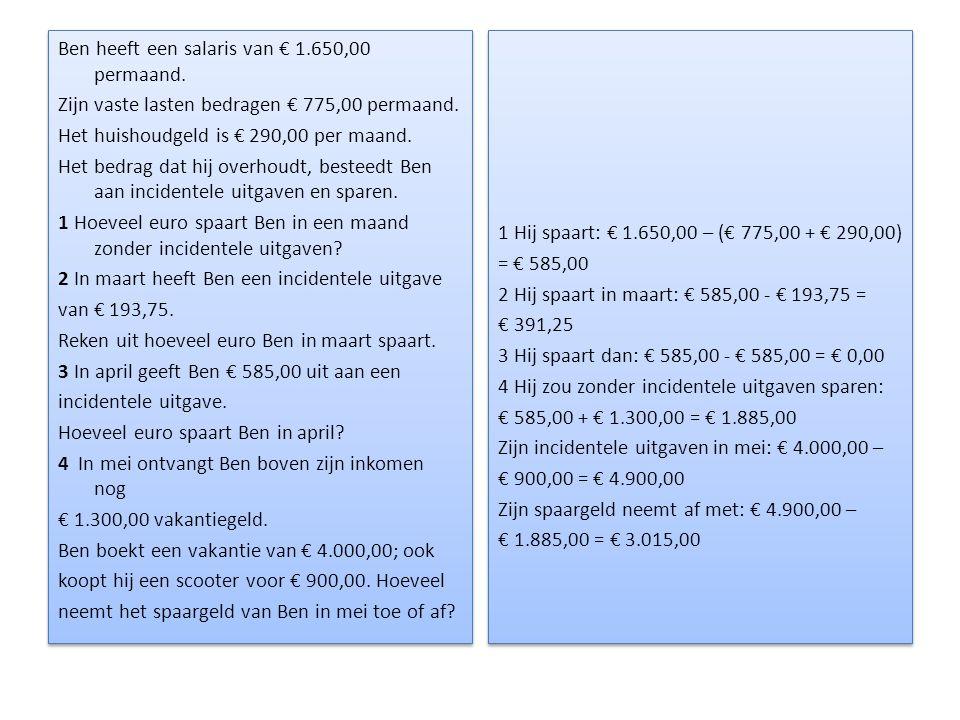 Ben heeft een salaris van € 1.650,00 permaand.Zijn vaste lasten bedragen € 775,00 permaand.