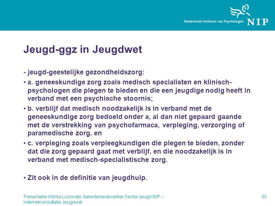 Jeugd-ggz in Jeugdwet - jeugd-geestelijke gezondheidszorg: • a. geneeskundige zorg zoals medisch specialisten en klinisch- psychologen die plegen te b