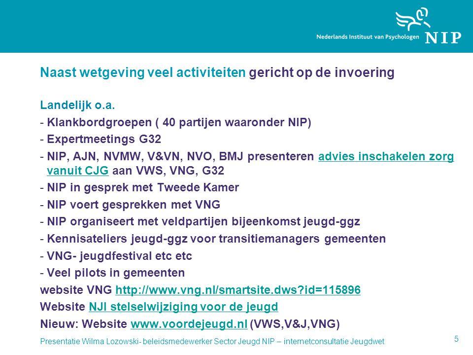 Naast wetgeving veel activiteiten gericht op de invoering Landelijk o.a. -Klankbordgroepen ( 40 partijen waaronder NIP) -Expertmeetings G32 -NIP, AJN,