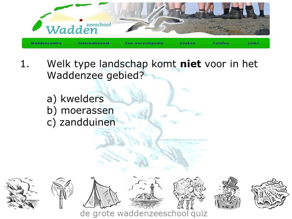de grote waddenzeeschool quiz 1.Welk type landschap komt niet voor in het Waddenzee gebied? a) kwelders b) moerassen c) zandduinen