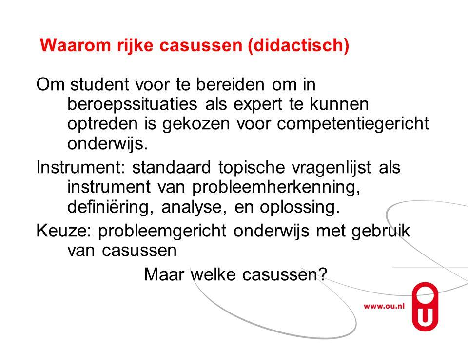 Waarom rijke casussen (didactisch) Om student voor te bereiden om in beroepssituaties als expert te kunnen optreden is gekozen voor competentiegericht