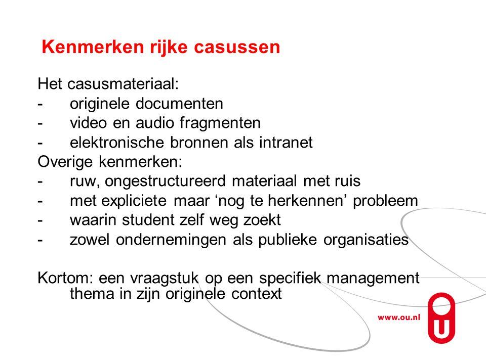 Kenmerken rijke casussen Het casusmateriaal: -originele documenten -video en audio fragmenten -elektronische bronnen als intranet Overige kenmerken: -