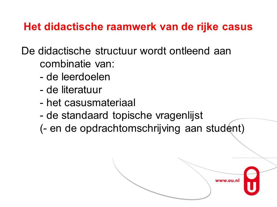 Het didactische raamwerk van de rijke casus De didactische structuur wordt ontleend aan combinatie van: - de leerdoelen - de literatuur - het casusmat