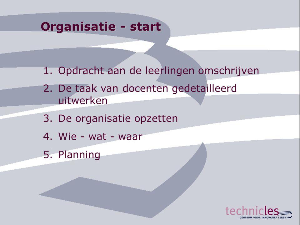 Organisatie - start 1.Opdracht aan de leerlingen omschrijven 2.De taak van docenten gedetailleerd uitwerken 3.De organisatie opzetten 4.Wie - wat - wa
