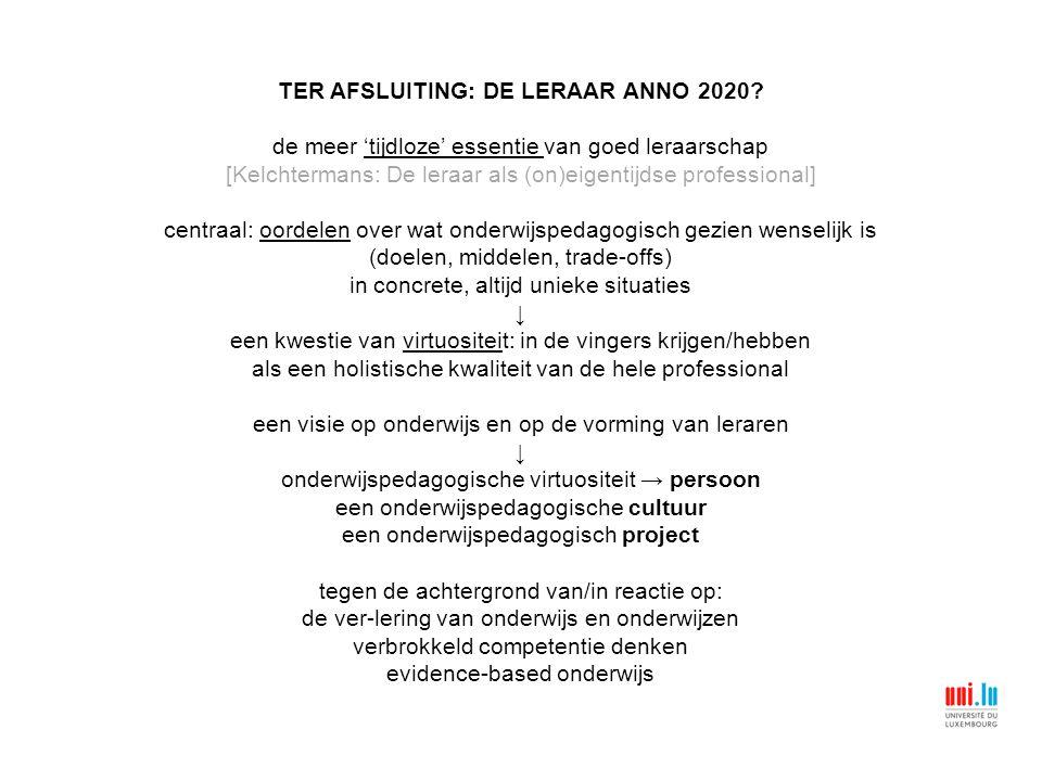 TER AFSLUITING: DE LERAAR ANNO 2020.