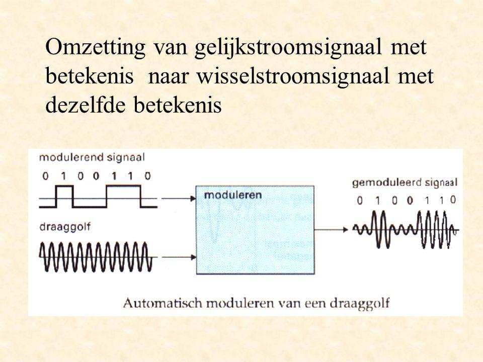 Omzetting van gelijkstroomsignaal met betekenis naar wisselstroomsignaal met dezelfde betekenis