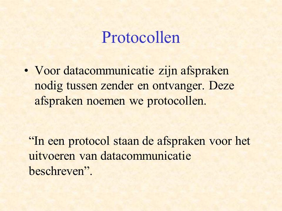 Protocollen •Voor datacommunicatie zijn afspraken nodig tussen zender en ontvanger.