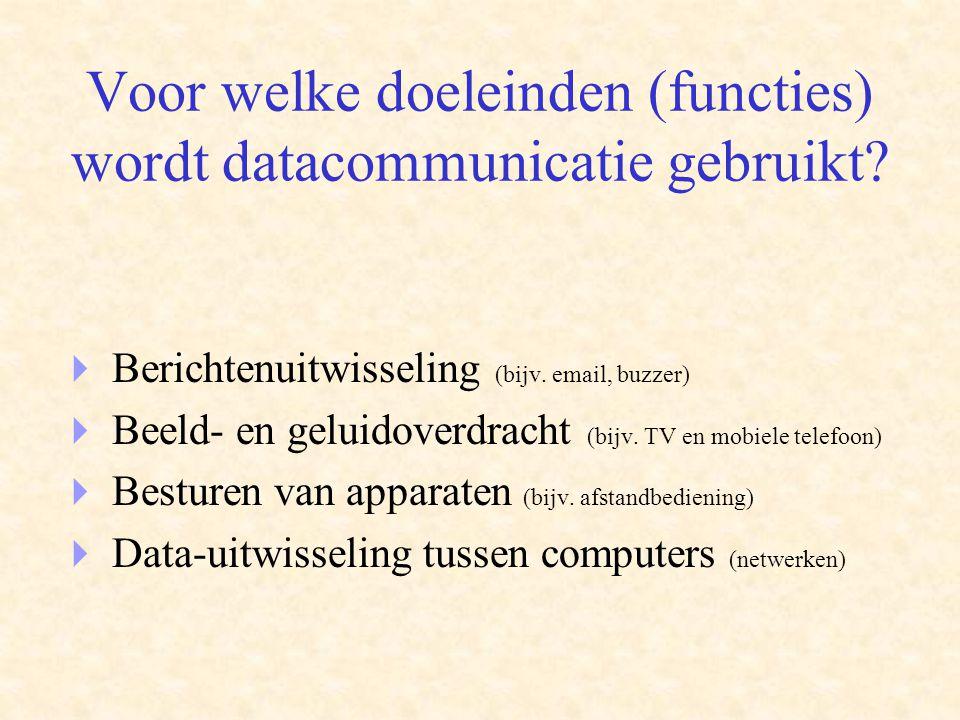 Wat is de meerwaarde (voordelen) van datacommunicatie  Geografische barrières worden weggenomen  Kostenbesparing  Snelle toegang tot bedrijfsinformatie  Koppelen van verschillende systemen