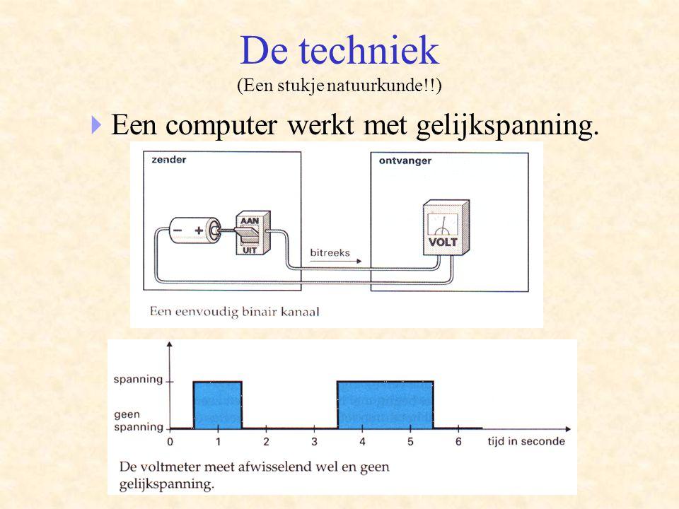 De techniek (Een stukje natuurkunde!!)  Een computer werkt met gelijkspanning.