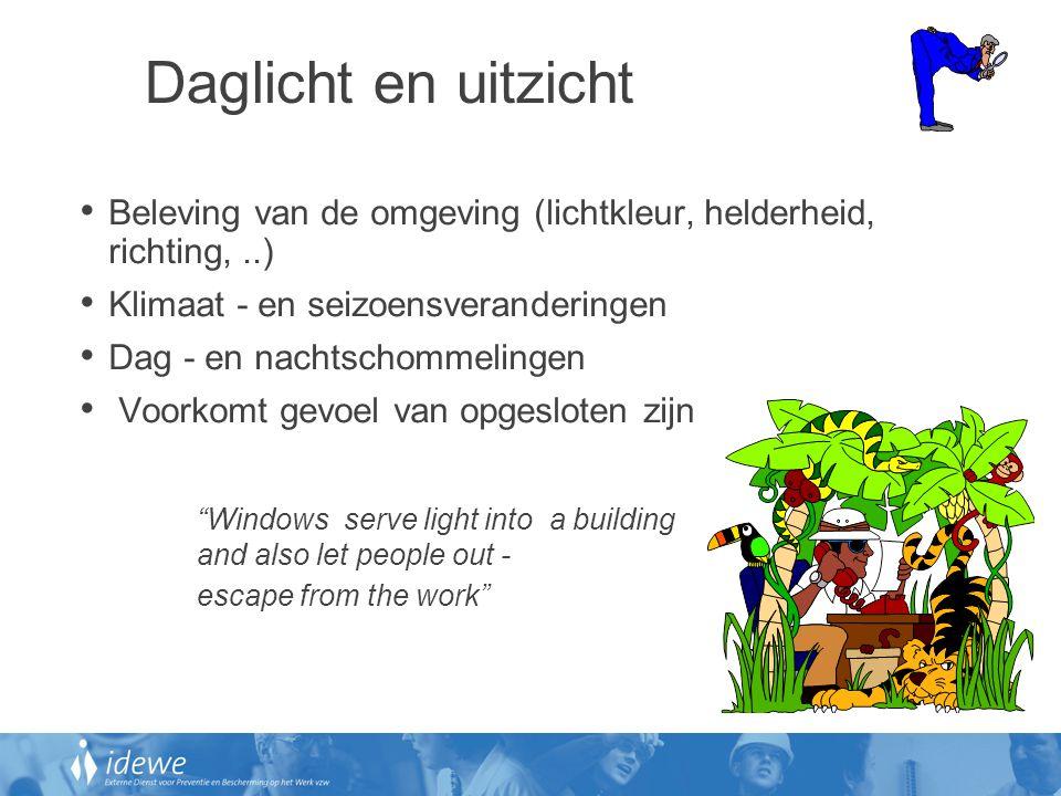 Daglicht en uitzicht • Beleving van de omgeving (lichtkleur, helderheid, richting,..) • Klimaat - en seizoensveranderingen • Dag - en nachtschommeling