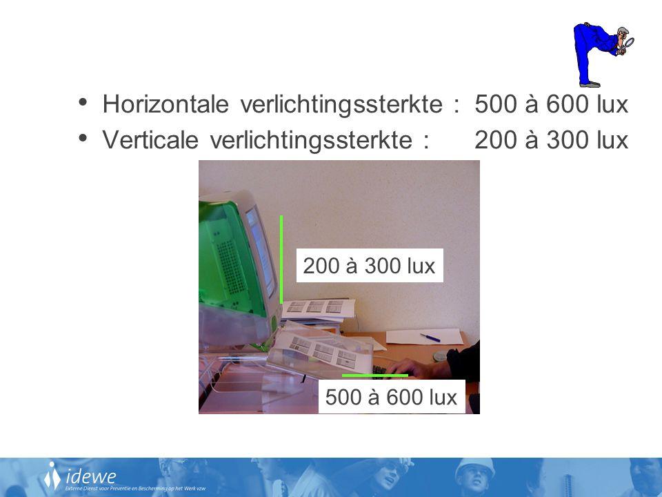 • Horizontale verlichtingssterkte : 500 à 600 lux • Verticale verlichtingssterkte : 200 à 300 lux 500 à 600 lux 200 à 300 lux