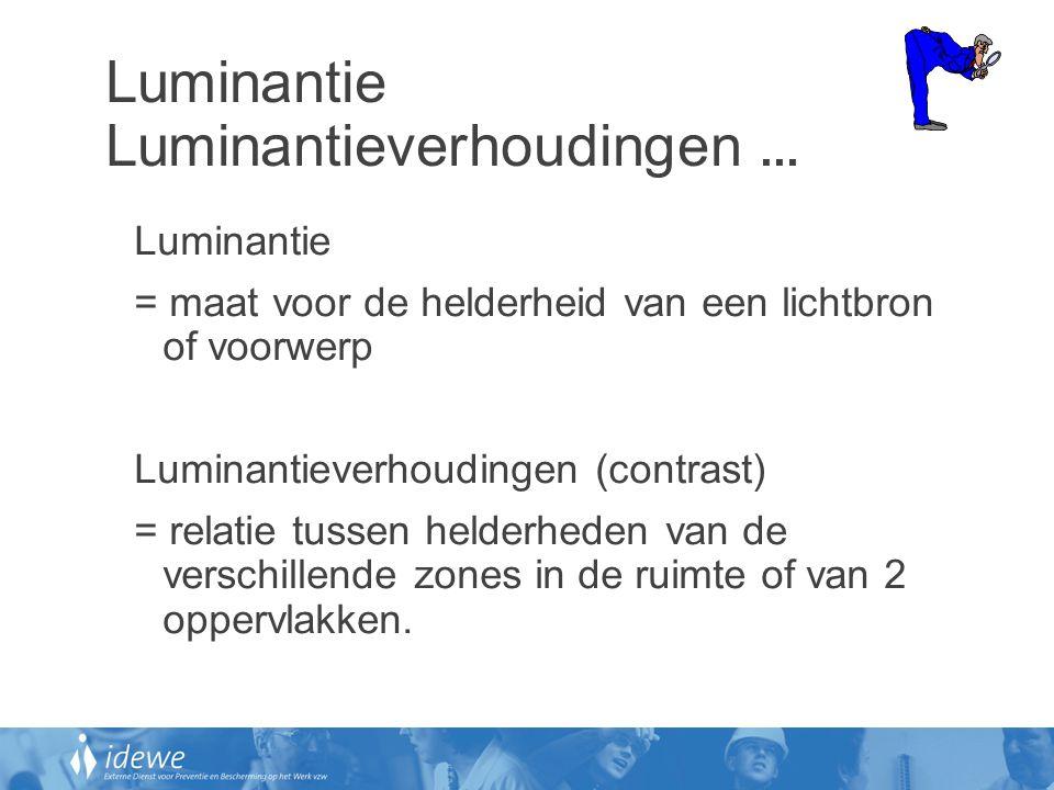 Luminantie Luminantieverhoudingen... Luminantie = maat voor de helderheid van een lichtbron of voorwerp Luminantieverhoudingen (contrast) = relatie tu