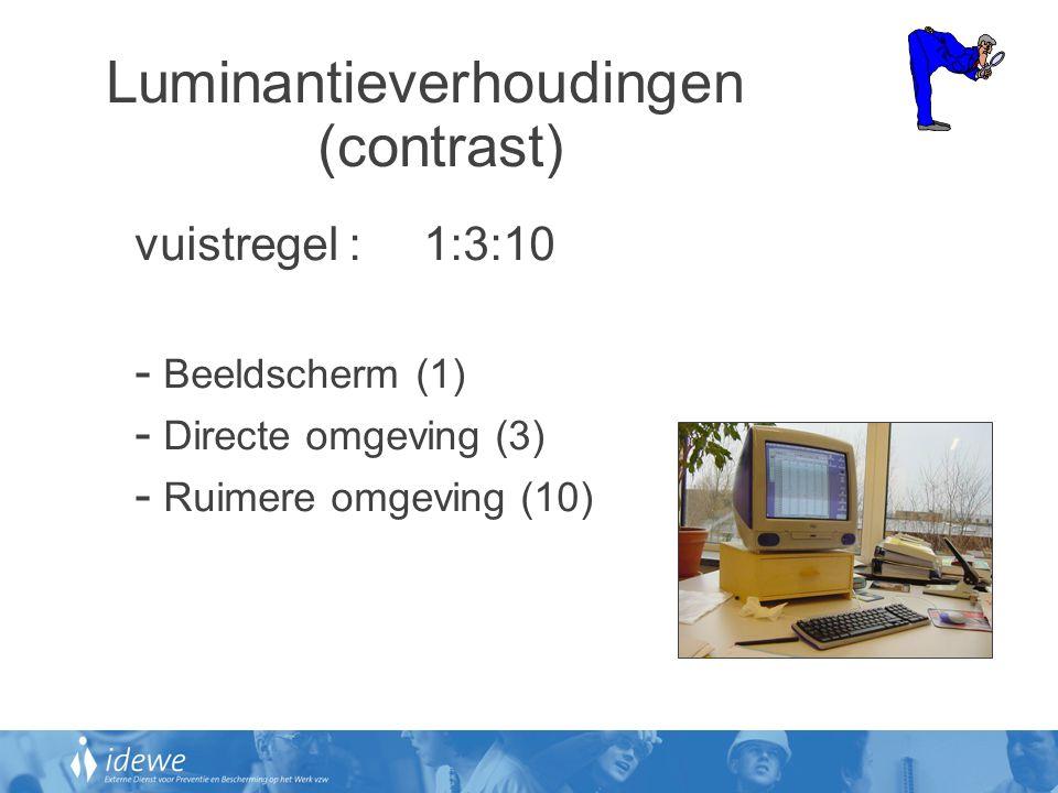 Luminantieverhoudingen (contrast) vuistregel : 1:3:10 - Beeldscherm (1) - Directe omgeving (3) - Ruimere omgeving (10)