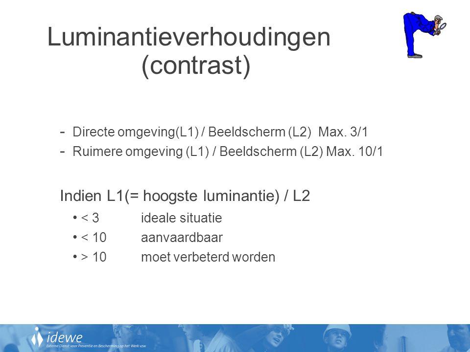 Luminantieverhoudingen (contrast) - Directe omgeving(L1) / Beeldscherm (L2) Max. 3/1 - Ruimere omgeving (L1) / Beeldscherm (L2) Max. 10/1 Indien L1(=