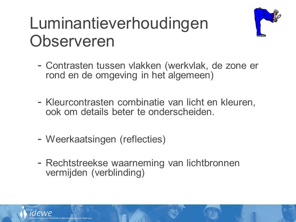 Luminantieverhoudingen Observeren - Contrasten tussen vlakken (werkvlak, de zone er rond en de omgeving in het algemeen) - Kleurcontrasten combinatie