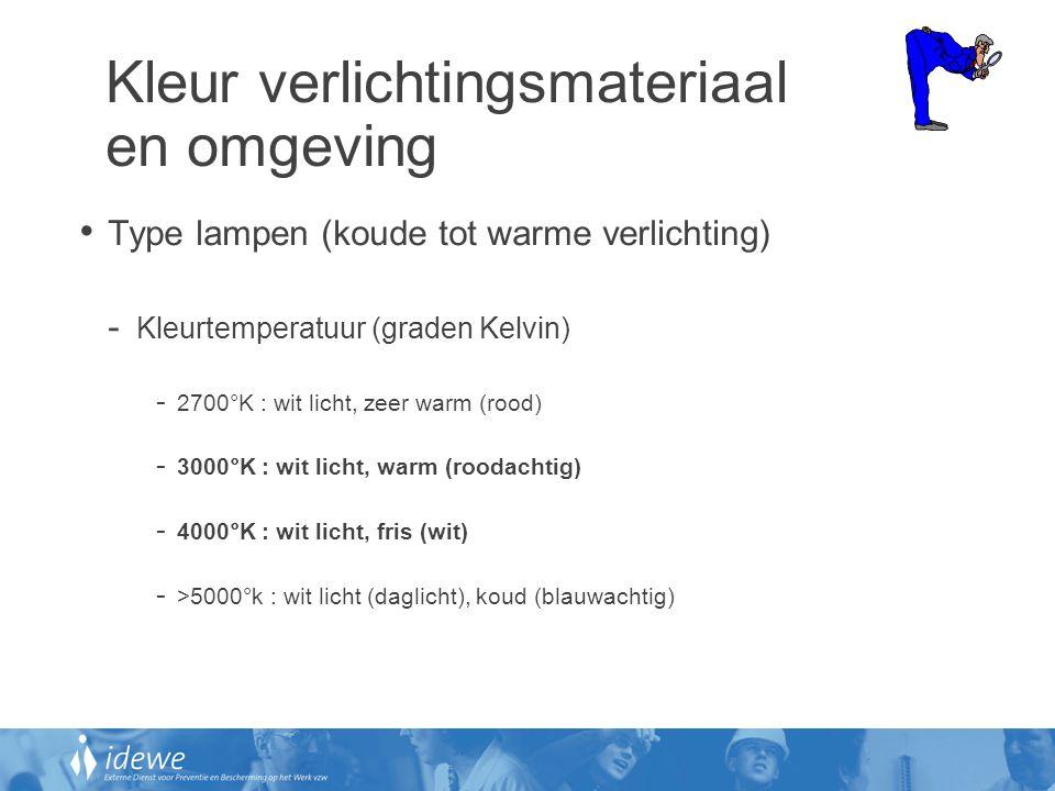 Kleur verlichtingsmateriaal en omgeving • Type lampen (koude tot warme verlichting) - Kleurtemperatuur (graden Kelvin) - 2700°K : wit licht, zeer warm