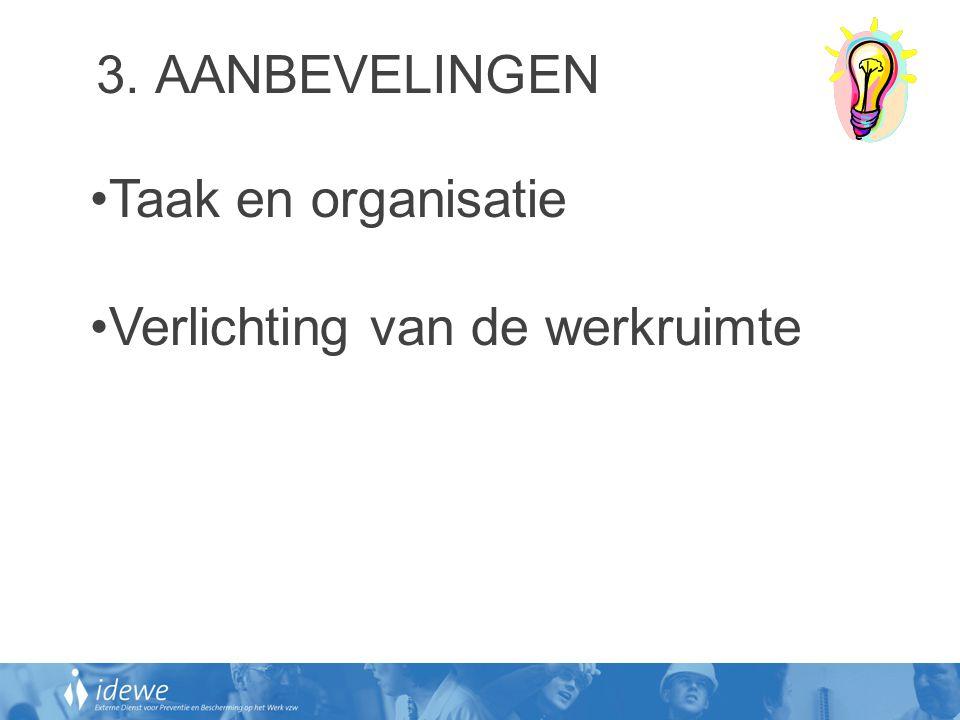 3. AANBEVELINGEN •Taak en organisatie •Verlichting van de werkruimte