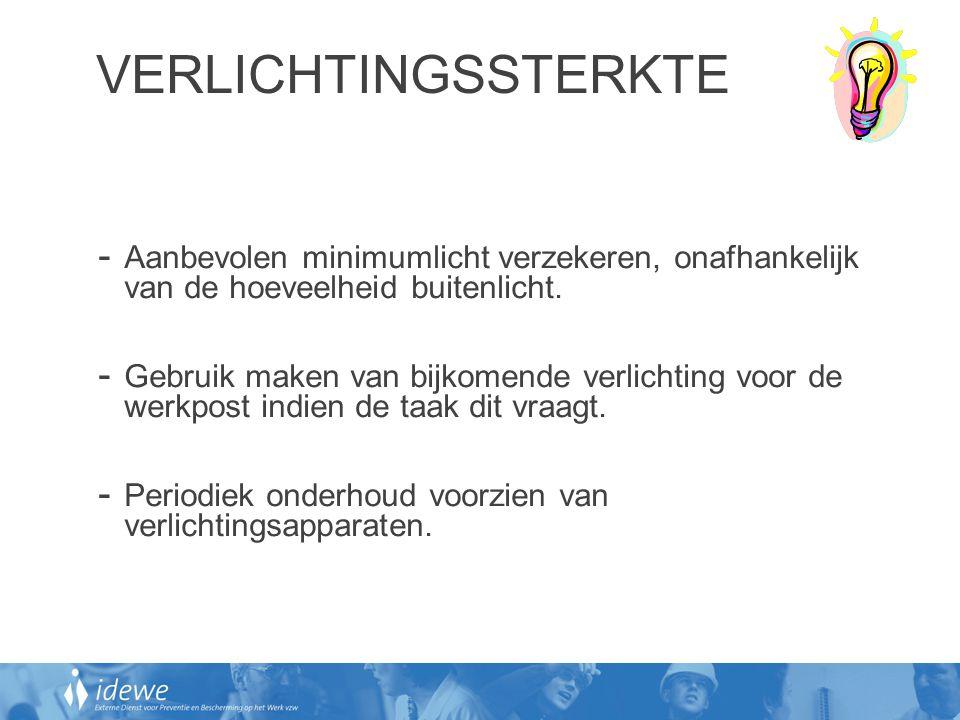 VERLICHTINGSSTERKTE - Aanbevolen minimumlicht verzekeren, onafhankelijk van de hoeveelheid buitenlicht. - Gebruik maken van bijkomende verlichting voo