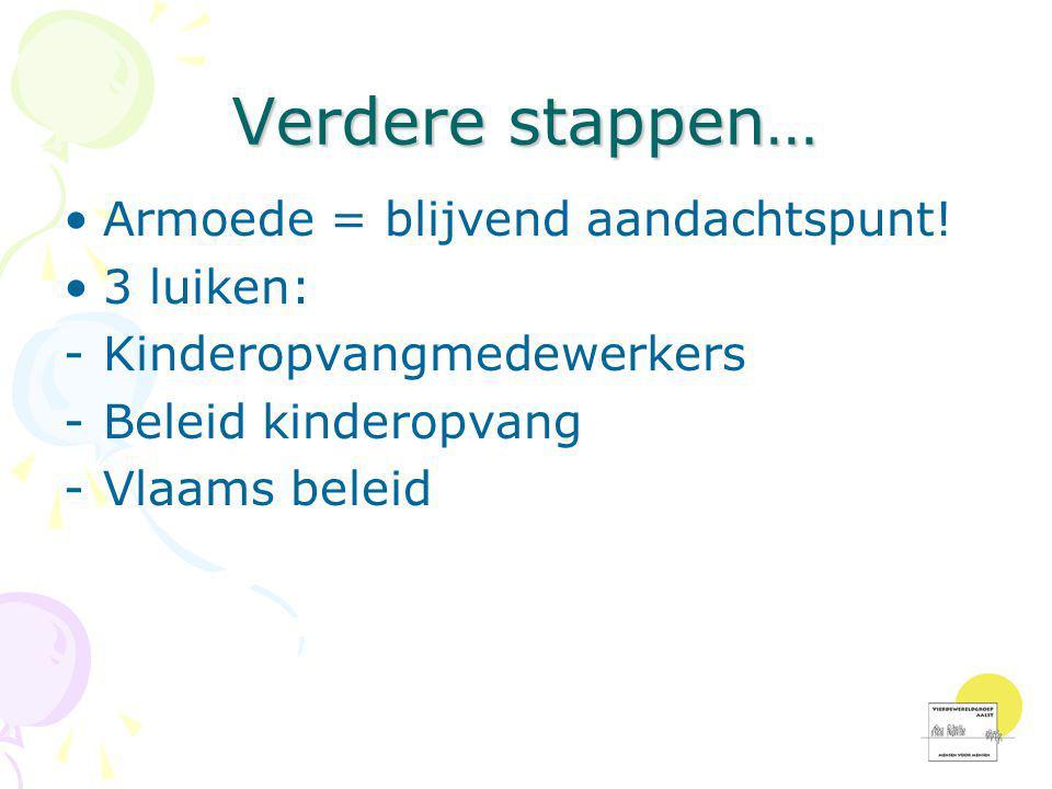 Verdere stappen… •Armoede = blijvend aandachtspunt! •3 luiken: -Kinderopvangmedewerkers -Beleid kinderopvang -Vlaams beleid