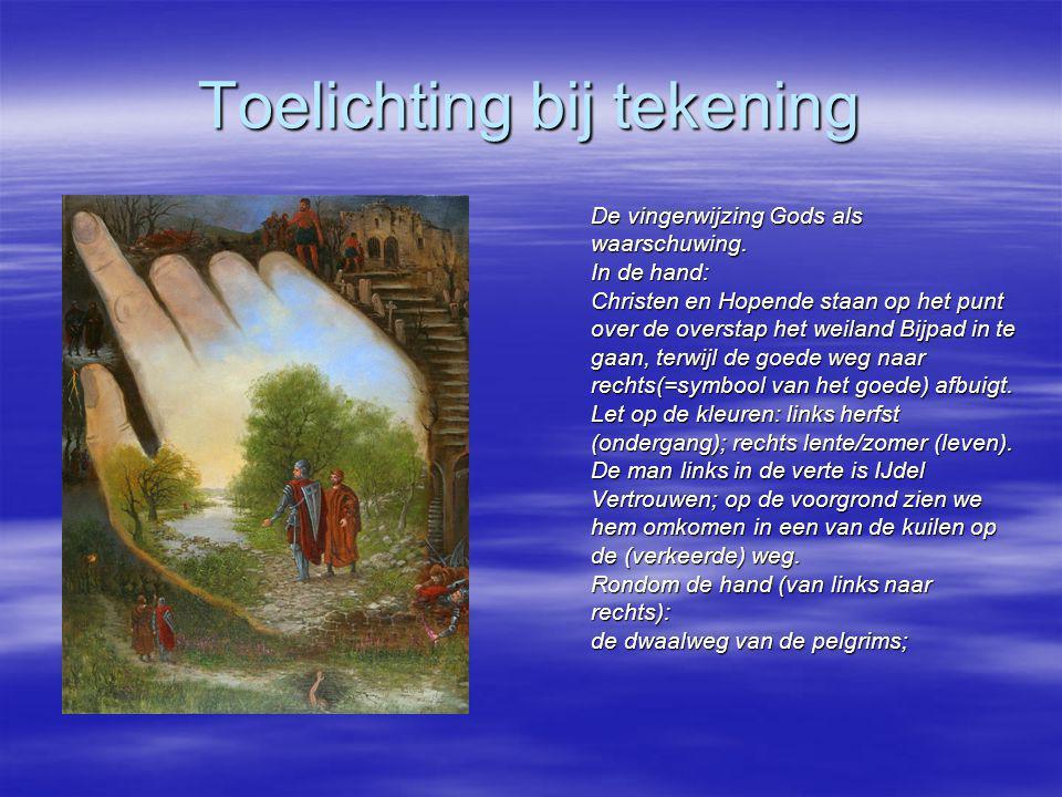 Toelichting bij tekening De vingerwijzing Gods als waarschuwing. In de hand: Christen en Hopende staan op het punt over de overstap het weiland Bijpad