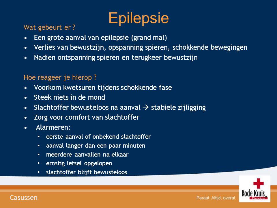 Epilepsie Wat gebeurt er ? •Een grote aanval van epilepsie (grand mal) •Verlies van bewustzijn, opspanning spieren, schokkende bewegingen •Nadien onts