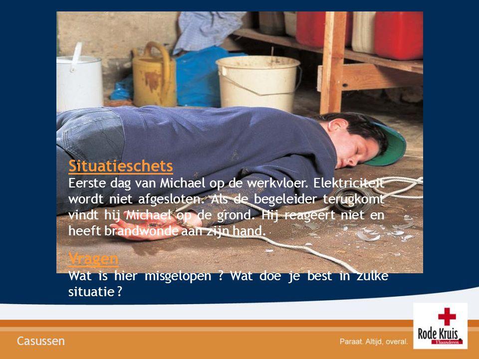 Situatieschets Eerste dag van Michael op de werkvloer. Elektriciteit wordt niet afgesloten. Als de begeleider terugkomt vindt hij Michael op de grond.