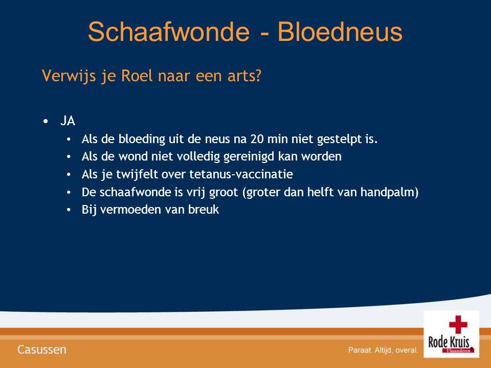 Schaafwonde - Bloedneus Verwijs je Roel naar een arts? •JA • Als de bloeding uit de neus na 20 min niet gestelpt is. • Als de wond niet volledig gerei