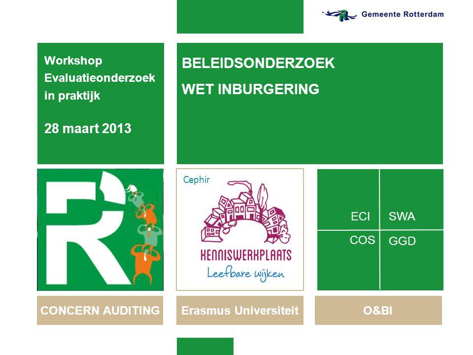 BELEIDSONDERZOEK WET INBURGERING Workshop Evaluatieonderzoek in praktijk 28 maart 2013 1 20-6-2014 CONCERN AUDITING Erasmus Universiteit O&BI SWA GGD