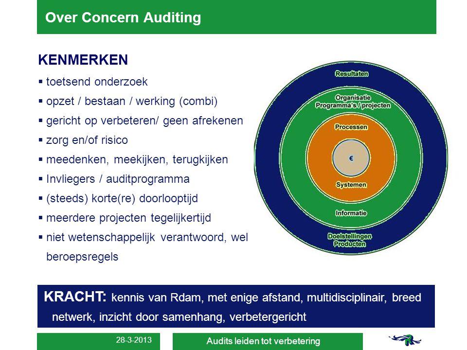 28-3-2013 Over Concern Auditing Audits leiden tot verbetering KENMERKEN  toetsend onderzoek  opzet / bestaan / werking (combi)  gericht op verbeter