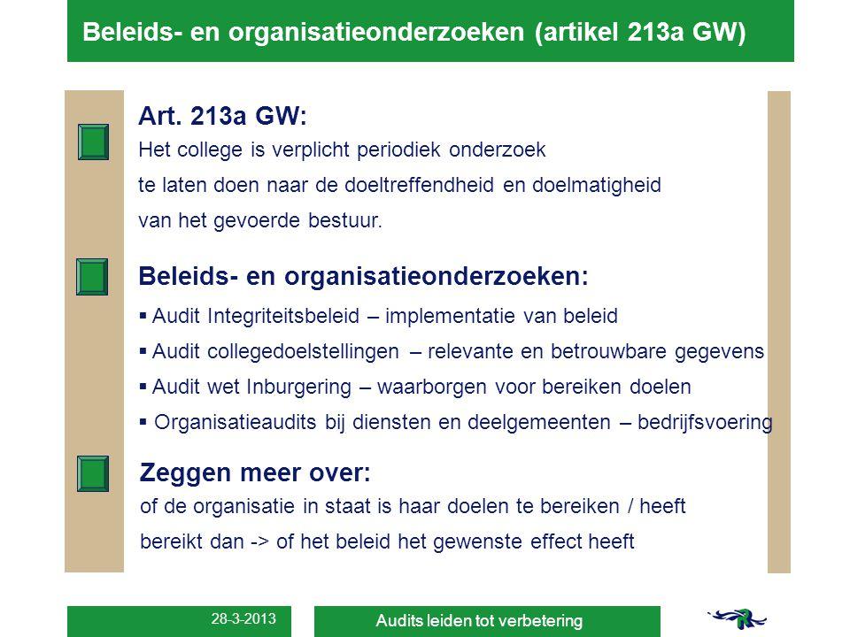 28-3-2013 Beleids- en organisatieonderzoeken (artikel 213a GW) Audits leiden tot verbetering Art. 213a GW: Het college is verplicht periodiek onderzoe