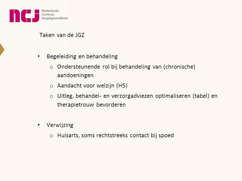 Taken van de JGZ • Begeleiding en behandeling o Ondersteunende rol bij behandeling van (chronische) aandoeningen o Aandacht voor welzijn (H5) o Uitleg