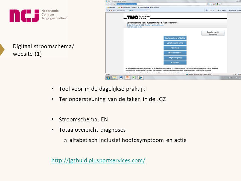Digitaal stroomschema/ website (1) • Tool voor in de dagelijkse praktijk • Ter ondersteuning van de taken in de JGZ • Stroomschema; EN • Totaaloverzic