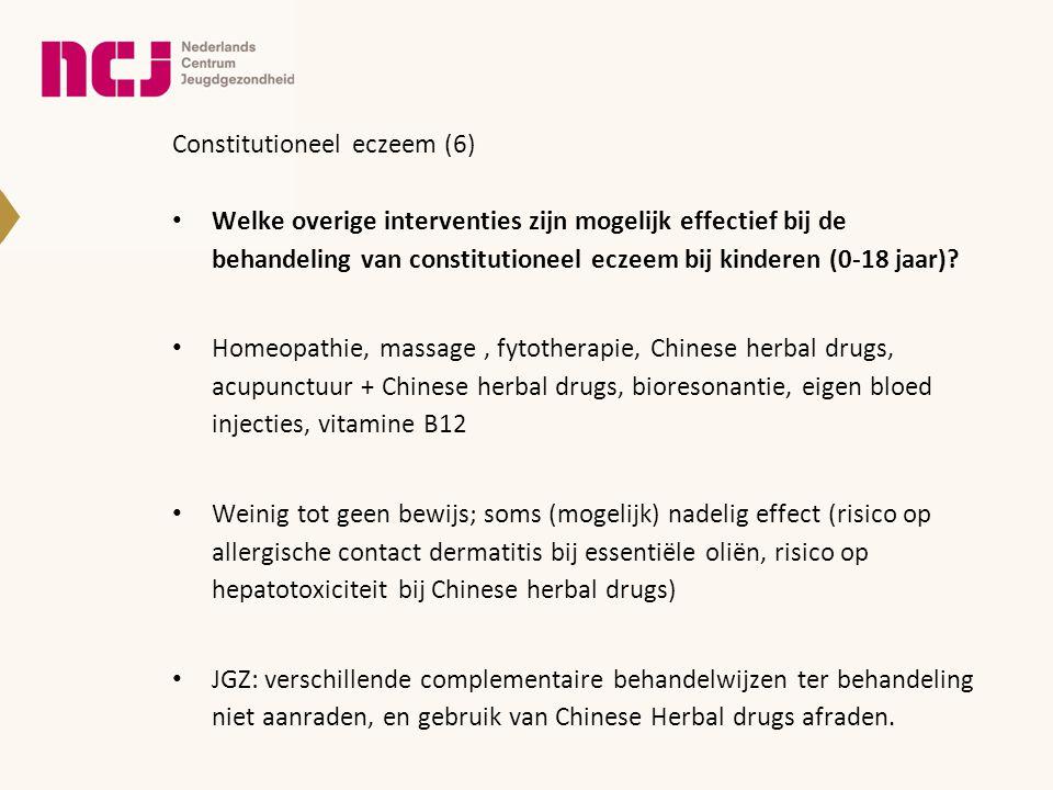Constitutioneel eczeem (6) • Welke overige interventies zijn mogelijk effectief bij de behandeling van constitutioneel eczeem bij kinderen (0-18 jaar)