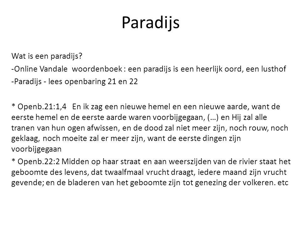 Paradijs Wat is een paradijs? -Online Vandale woordenboek : een paradijs is een heerlijk oord, een lusthof -Paradijs - lees openbaring 21 en 22 * Open