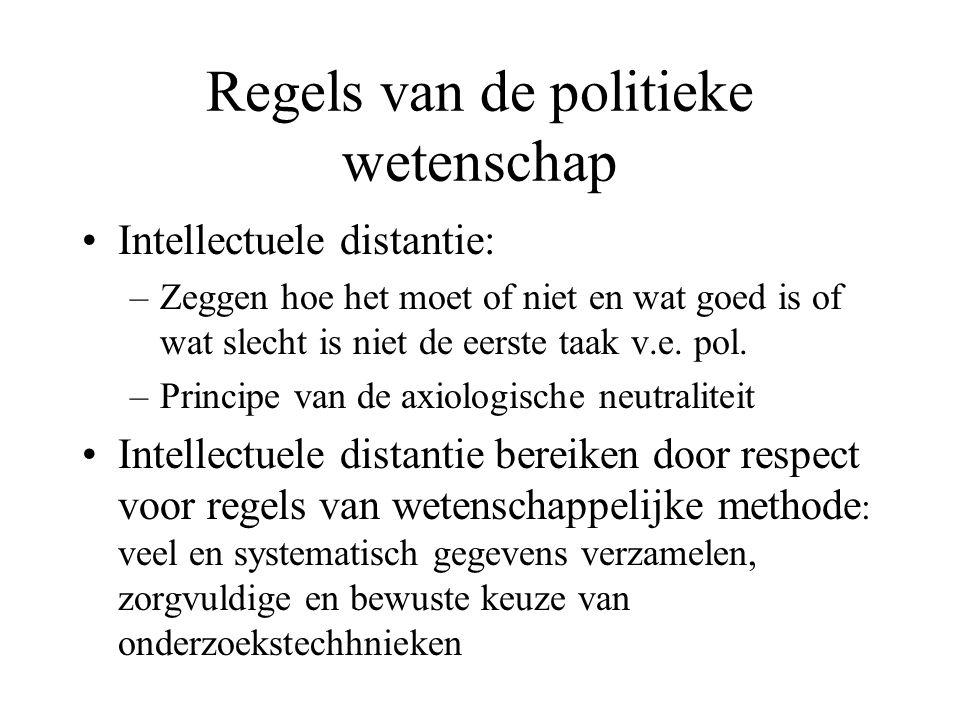 Regels van de politieke wetenschap •Intellectuele distantie: –Zeggen hoe het moet of niet en wat goed is of wat slecht is niet de eerste taak v.e.