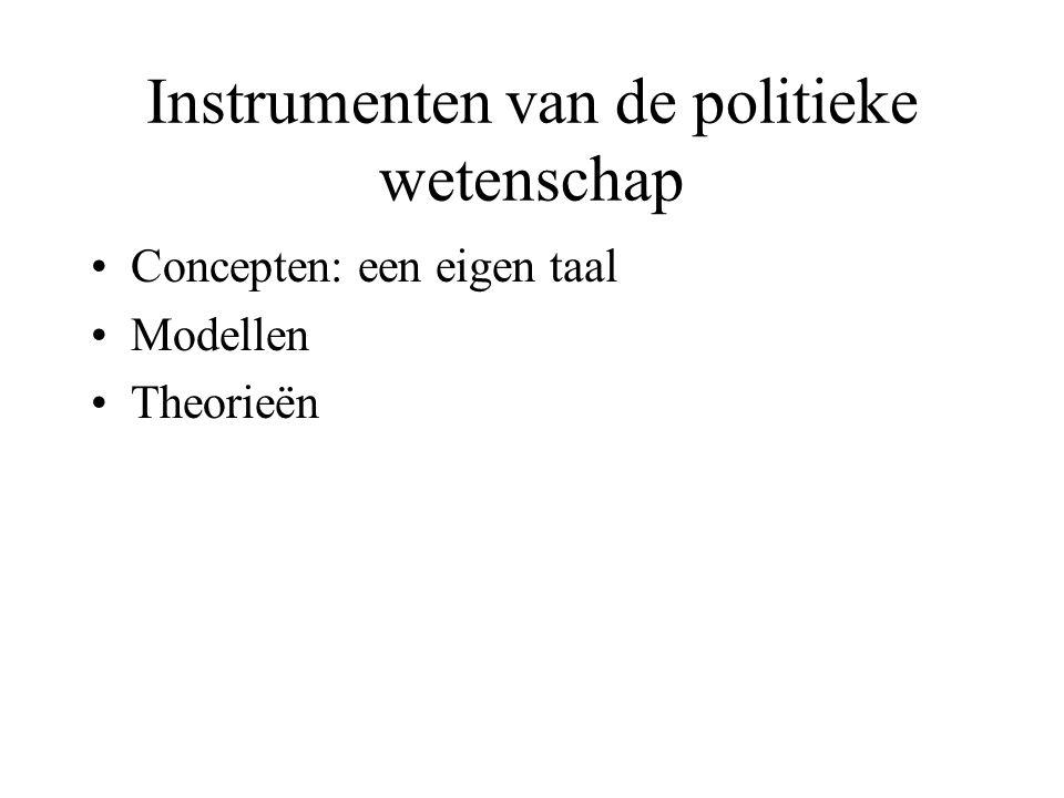 Instrumenten van de politieke wetenschap •Concepten: een eigen taal •Modellen •Theorieën
