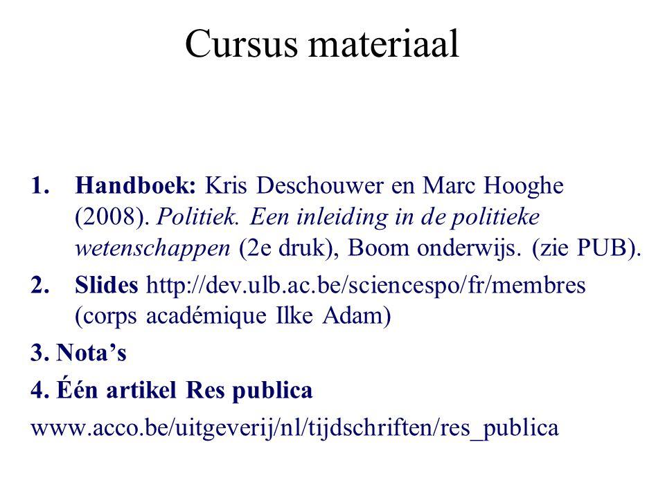 Cursus materiaal 1.Handboek: Kris Deschouwer en Marc Hooghe (2008).